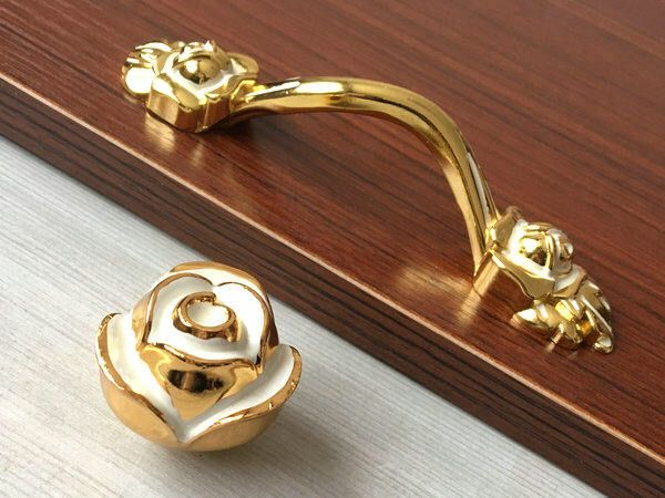 "3 3/4"" Shabby Chic Drawer Knob Pulls Handles Dresser Knobs Cabinet Door Handle Kitchen Pull Gold White Rose Flower Lynns Hardware 96 mm by LynnsHardware on Etsy https://www.etsy.com/listing/197378629/3-34-shabby-chic-drawer-knob-pulls"