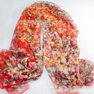 High Quality Red Floral Chiffon Silk-like Scarf
