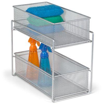 silver 2 drawer mesh organizer 1