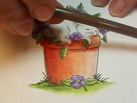 Coloring a Stamped Image With Prismacolor Pencils and Gamsol