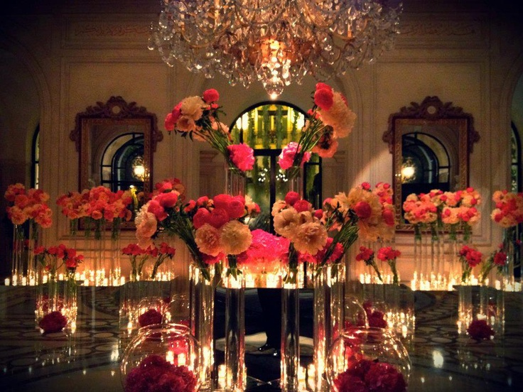 An amazing floral arrangments with wonderful flowers by candlelights in our lobby... Welcome to Four Seasons Hotel George V !!