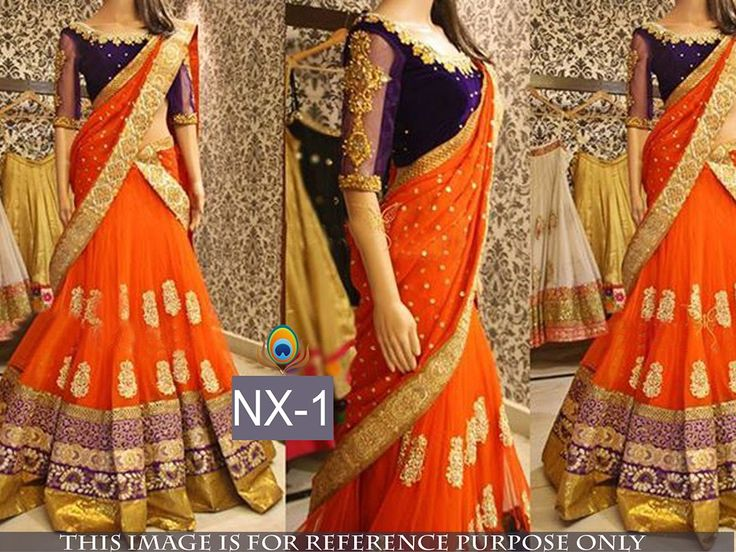 Net Machine Work Orange Semi Stitched Lehenga - NX1