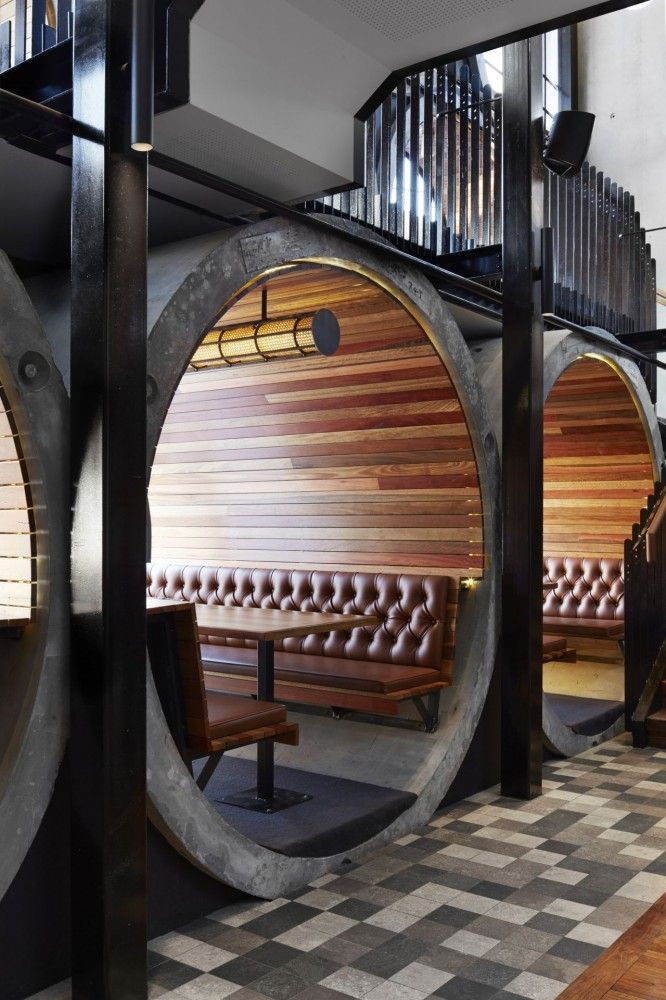 Prahran Hotel, Australia   Techne Architects I would change the colors but love the layout and the architecture of this restaurant.