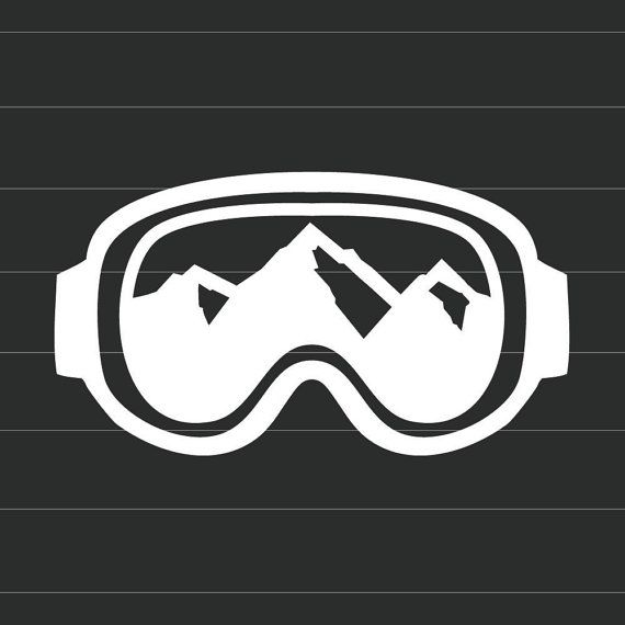 Winter Sport Goggles with Mountain Views - Vinyl Decal Sticker