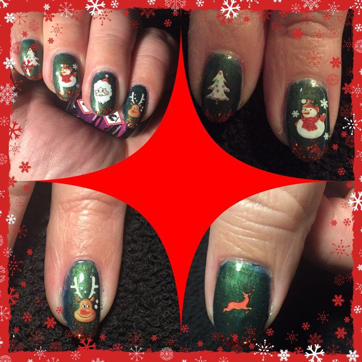 # gelpolish #nails #nailart #christmas #waterdecals