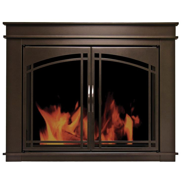 Pleasant Hearth Fenwick Medium Glass Fireplace Doors-FN-5701 - The Home Depot