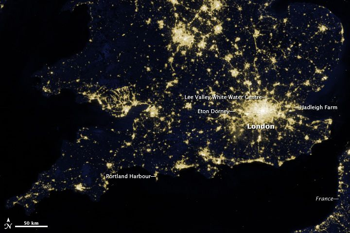 The image above shows London and the southern half of Great Britain as it appeared on the night of March 27, 2012. While most of the events in the 2012 Olympics will be held in the greater London area, several other cities and towns will host events, including: canoeing at Lee Valley White Water Center; sailing in Weymouth and Portland; rowing and canoeing at Eton Dorney; and cycling and mountain bike events at Hadleigh Farm.