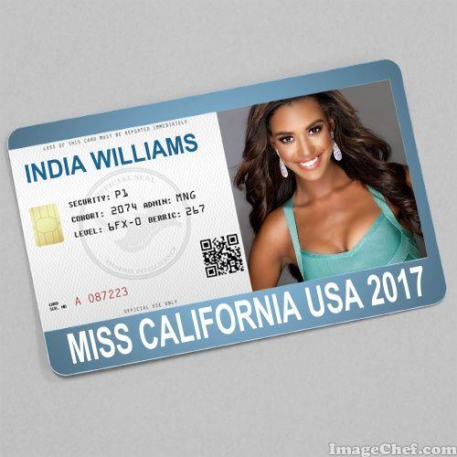 India Williams Miss California USA 2017 card