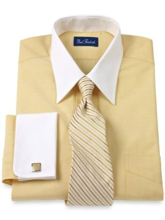 Paul fredrick mens cotton end on end straight for Mens dress shirts with different colored cuffs and collars