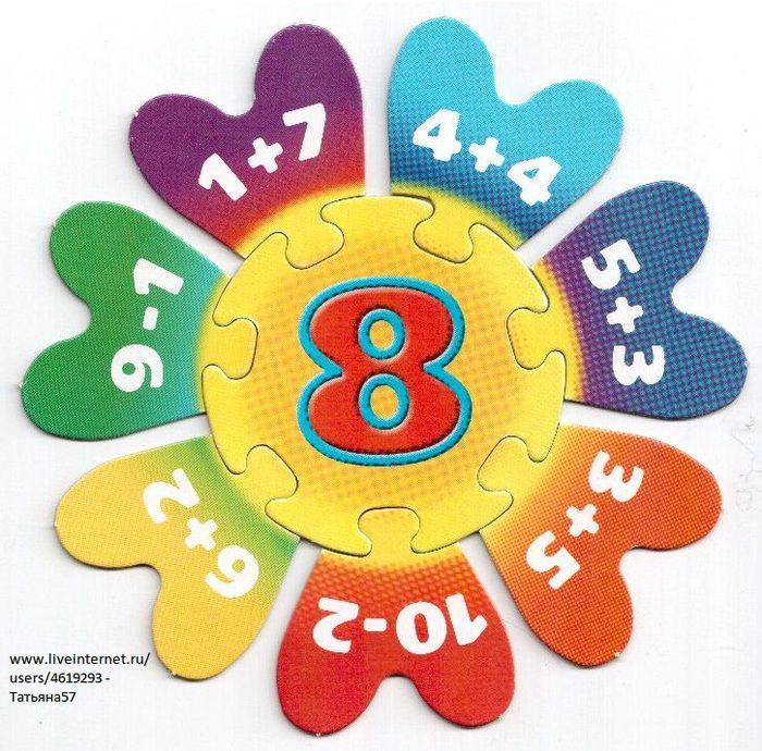 Puzzel met plus- en minsommen omtrent het getal 8.