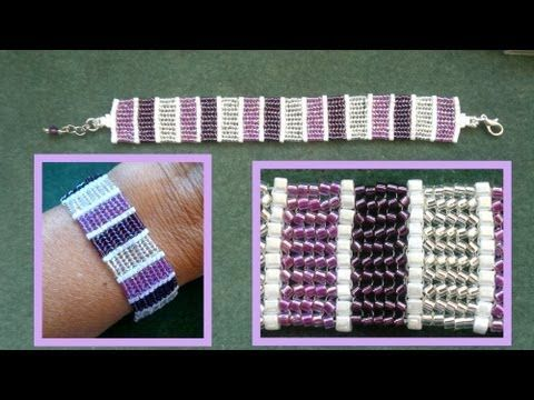 Beading4perfectionists : Basic flat herring bone stitch with delica's and 1mm cubes beading tutorial