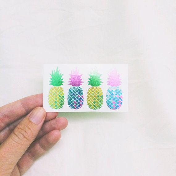 Tropical metallic tattoos, mothers day gift, iridescent pineapple temporary tattoos, best friend gift, rainbow fake tattoos 2