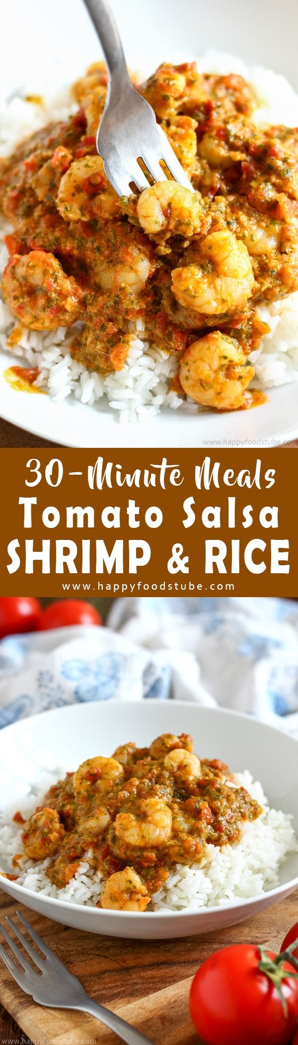 Tomato salsa shrimp and rice is a perfect dinner for busy weeknights. Quick and easy 30-minute meal recipe. Only simple ingredients. Family favorite recipe ideas via @happyfoodstube