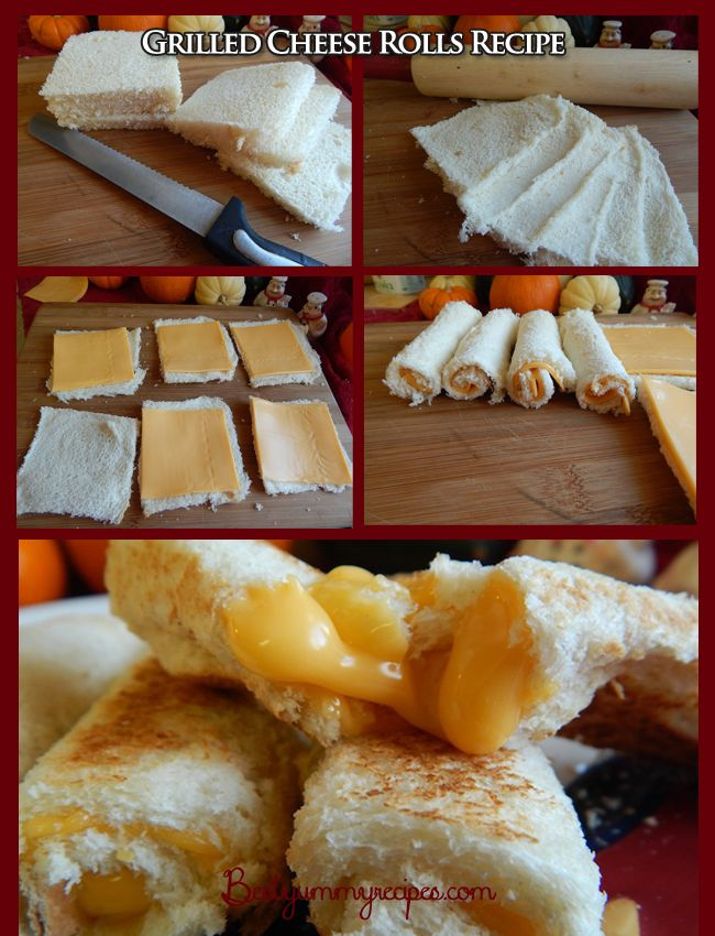 Grilled Cheese Rolls for 6 roll-ups:  6 slices very soft, fresh white bread (crusts removed) 6 slices American cheese (such as Kraft singles...