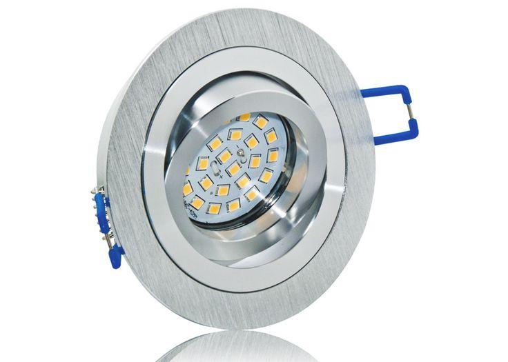LED Einbaustrahler Set mit Marken GU10 LED Spot Nextec 5 Watt DIMMBAR Aluminium BiColor Rund Klickverschluß