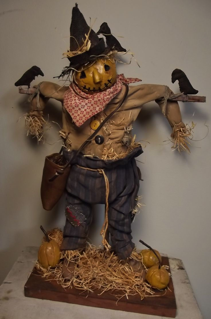 Handmade ScareCrow & Crows By Kim Sweet~Kim's Klaus~Ooak Vintage Antique Folk Art Doll