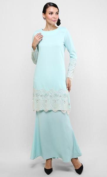 Baju Kurung Modern Lace Dhia in Light Blue