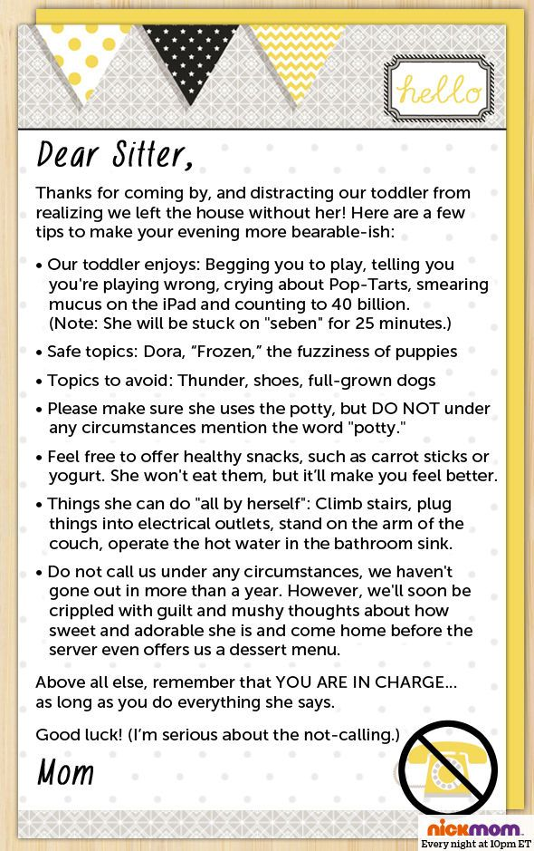 The most honest letter for the babysitter you'll ever read.