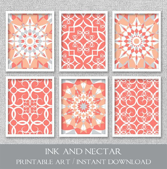Printable Art Set of 6 Prints Printable by inkandnectardigital