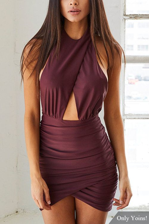 Open Back Halter Wrap Front Mini Dress -YOINS http://fave.co/2dQU9h8