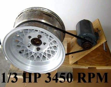 Wheel Polisher by toddishere -- Homemade wheel polisher constructed from plywood, a wheel hub and axle stub, hinge, electric motor, spring, and belt. http://www.homemadetools.net/homemade-wheel-polisher-3