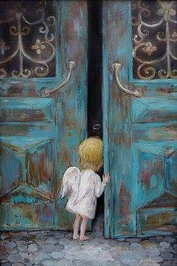 Curious little angel peeking in huge blue doors painting.