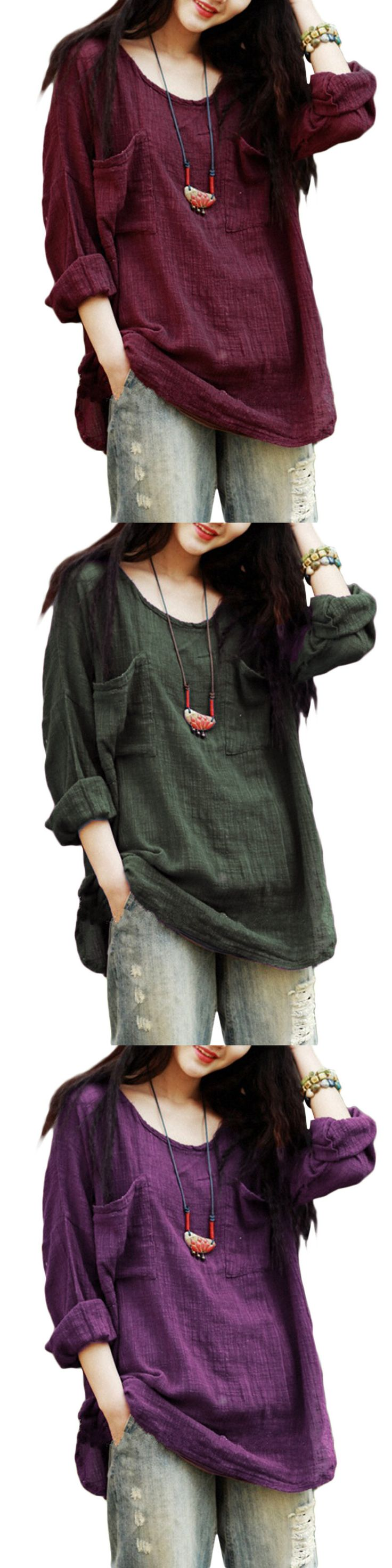 US$13.97Gracila Vintage Pure Color Long Sleeve Pockets Loose Women Shirts