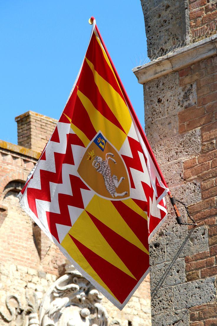 Palio di Provenzano 2013. La bandiera del Valdimontone sventola da Porta Romana. Foto del Tesoro di Siena