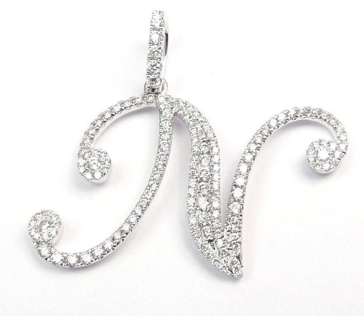 "DIAMOND LETTER ""N"" PENDANT IS 28.1MM BY 33MM 