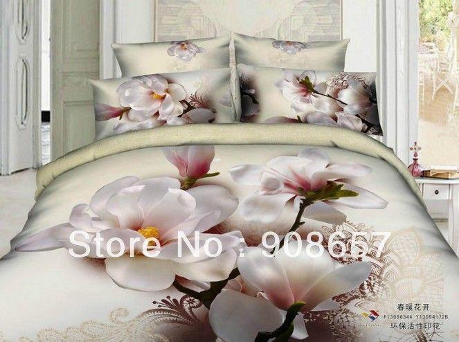 Белый розовый цветочные принты 3D картина маслом девушки постельное белье 400TC постельное белье одеяло королева полный размер одеяло пододеяльники комплект