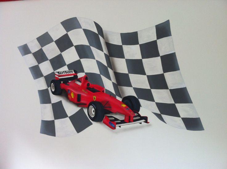 Muurschildering racewagen gemaakt door StijlvolleMuur.nl