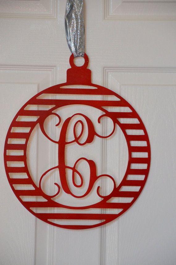 wooden monogram ornament  holiday decor  winter wreath  front door  holidays  christmas