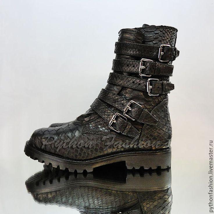 Купить Дизайнерские ботинки из кожи питона ULTIMATE - кожа питона, из питона, из кожи питона, питон