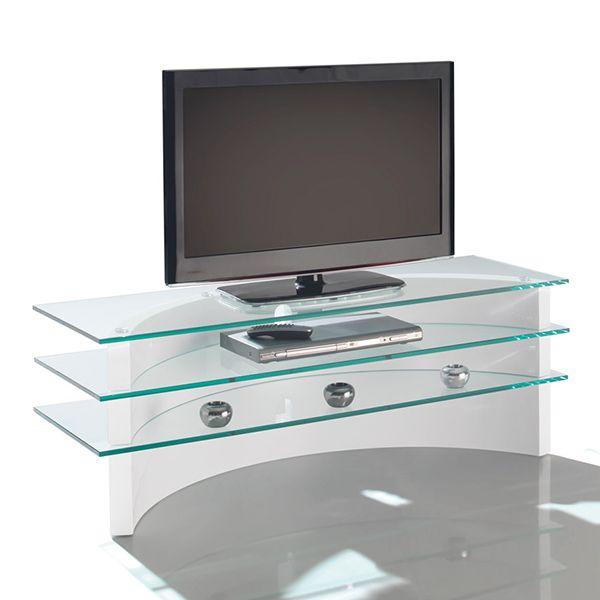 Meuble TV Blu-Ray pour un salon moderne.  Meuble de télé en laque brillante et en verre avec étagères. Dimensions : L. 125 x H. 45 x l. 45 cm.  A retrouvez sur http://www.luniversinterieur.com/meubles-tv/
