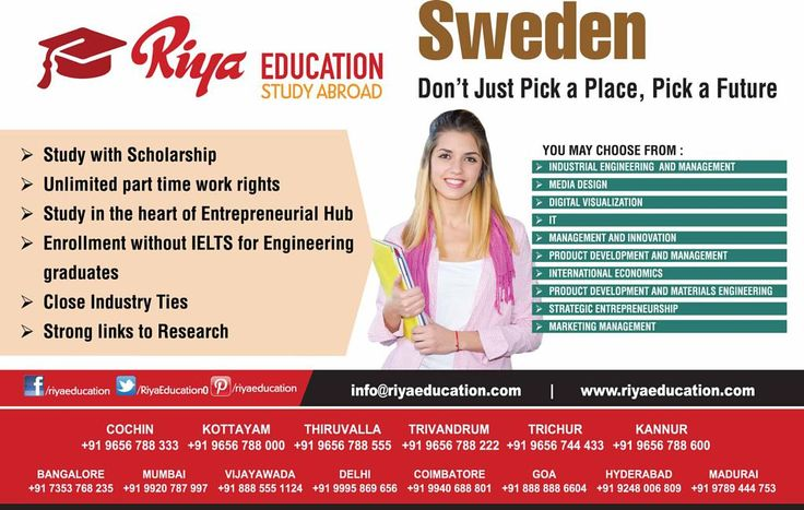 Study in Sweden!!! Don't just pick a place, pick a future. Riya Education is here to help you. Get in touch with us for more details on study abroad programs. Visit our website.