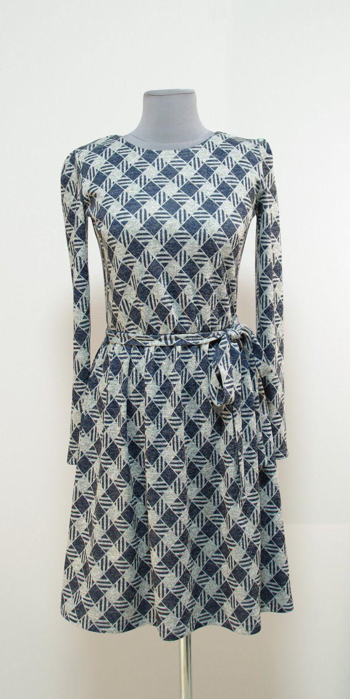 Серое платье в темно-синие клетку-ромбики | Платье-терапия от Юлии