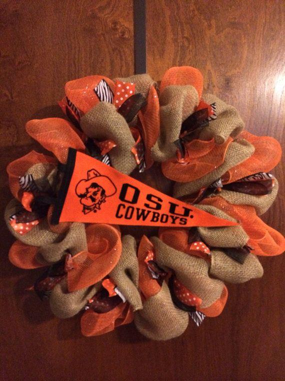 OSU Cowboys Deco Mesh and Burlap Wreath on Etsy, $65.00