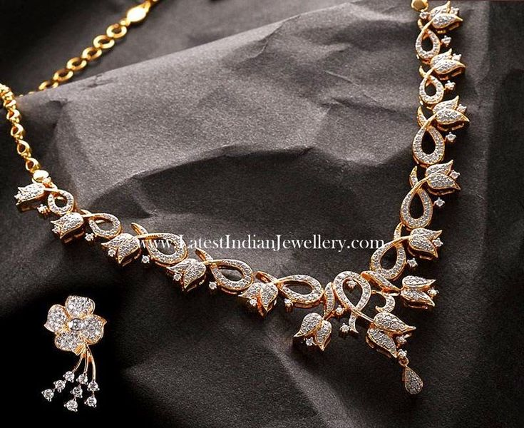 Lotus Floral Design Diamond Necklace