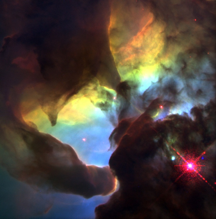 This Hubble Space Telescope (HST) image reveals a pair of one-half light-year long interstellar 'twisters' - eerie funnels and twisted-rope structures - in the heart of the Lagoon Nebula (Messier 8) which lies 5,000 light-years away in the direction of the constellation Sagittarius.