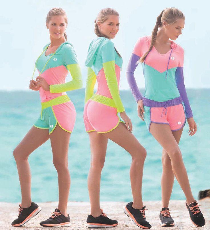 Garotas - Ref: 4794 Hoodie and 4796 Shorts. Size:S-M-L-XL. Material: Microfiber Nylon - Spandex. Colours: Black, Mint, Salmon, Lilac, Neon Green, Neon Fuchsia.