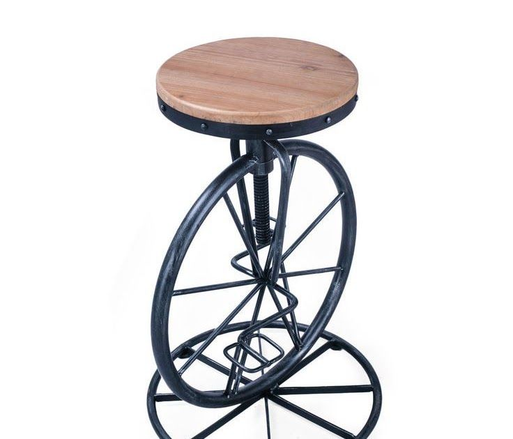 Black Rustic Metal Unicycle Bar Stool Adjustable Backless With