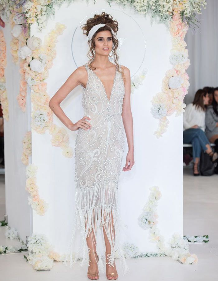 307419aa74d Fall in love with this mid-length Julie Vino gown and these 13 other  gorgeous trends seen at Bridal Fashion Week 2018!