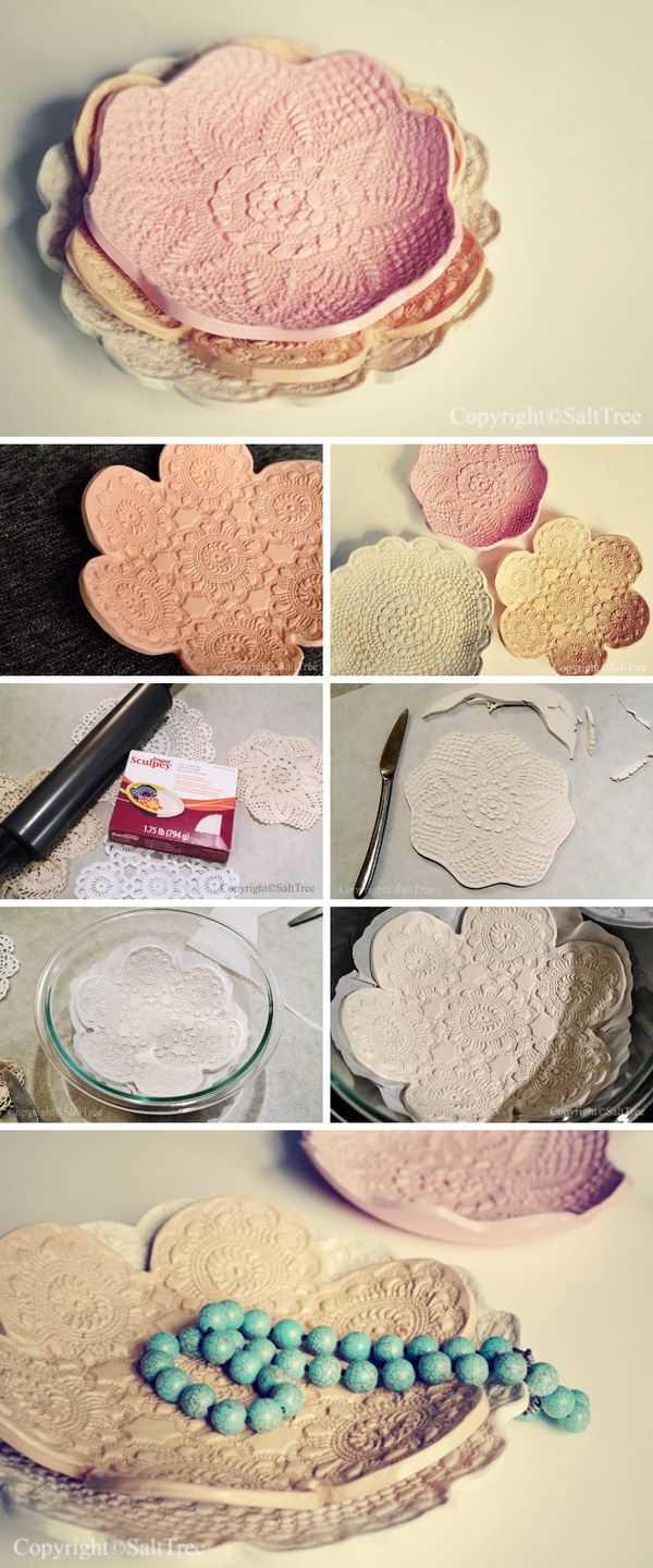 DIY Doily Pressed Clay Bowls. Get the tutorial