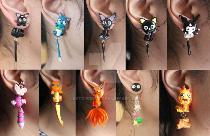 all handmade earrings of different anime characters. These are all available on Etsy at www.etsy.com/shop/ArtzieRush?r…