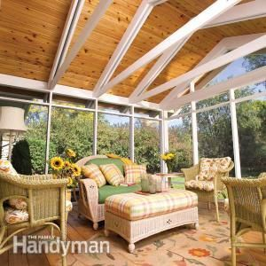 #DIY Screen Porch Construction: You can add a spacious, airy outdoor porch to your home. We'll show you everything you need to complete the project yourself, including how to frame the porch, attach it to your house and all of the finishing details. Read more: http://www.familyhandyman.com/garden-structures/screen-porch-construction/view-all