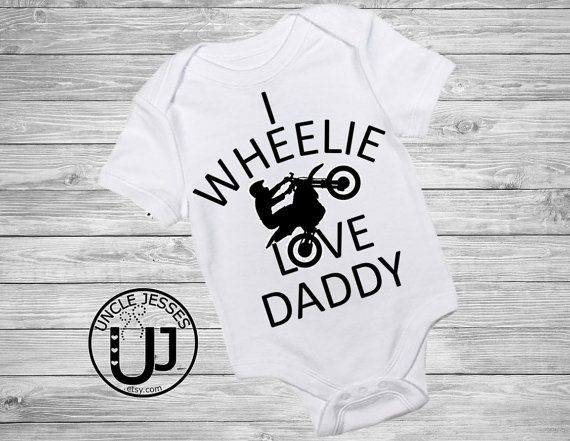 Biker Dad Father's Day Onesie: I Wheelie Love Daddy- From Baby, Daddy's Day, Sport Bikes, Motorcycle, Harley, 1st Father's Day Outfit, braap UncleJesses