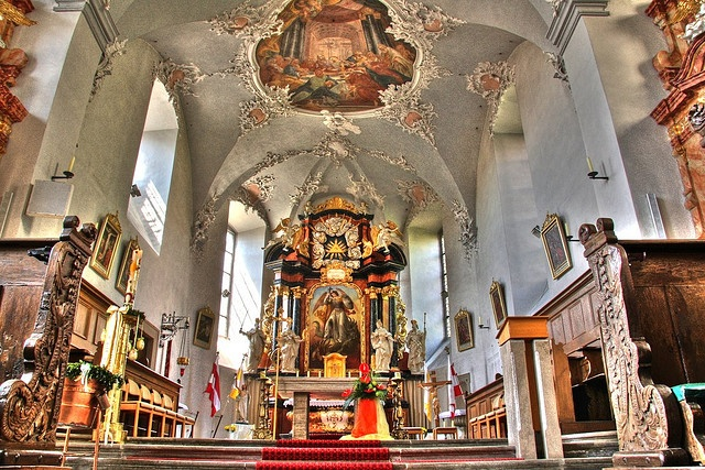 Interior and Altar of St. Michael Catholic Church, Zeli Am Main, Franconia, Germany