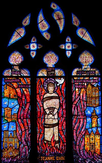 Jeanne D'Arc Stained Glass Window. Church of Saint-Helier, Beuzeville, Normandy, France.