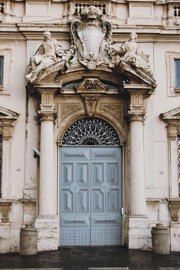 ~Beautiful old door in Rome, Italy