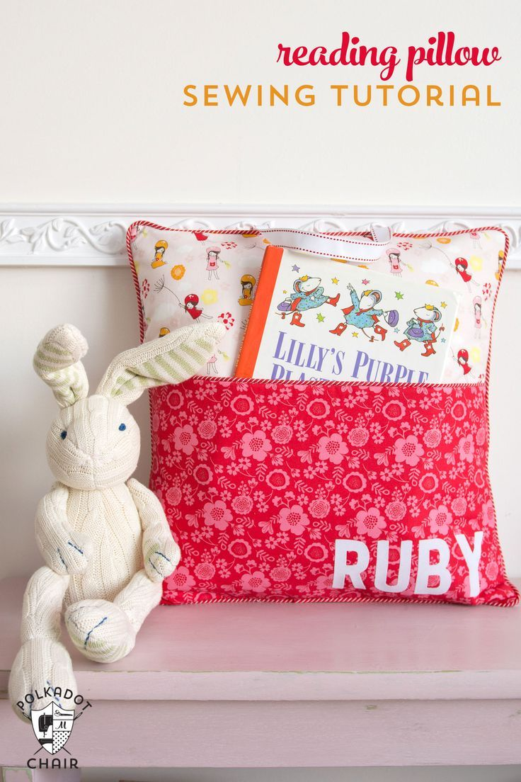 How to sew a personalized reading pillow with a pocket and handle - free sewing pattern and tutorial on http://polkadotchair.com